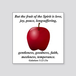 "Apple - Fruit of the Spirit Square Sticker 3"" x 3"""