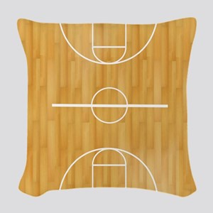 Basketball Court Woven Throw Pillow