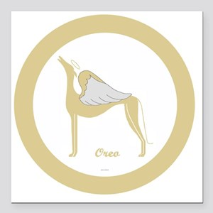 """OREO ANGEL GREY ROUND OR Square Car Magnet 3"""" x 3"""""""