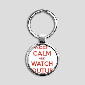 keep calm and watch youtube Round Keychain