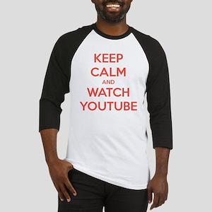 keep calm and watch youtube Baseball Jersey