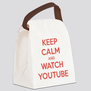 keep calm and watch youtube Canvas Lunch Bag
