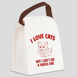 loveCatsEat1D Canvas Lunch Bag