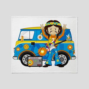 Hippie Boy and Camper Van Throw Blanket