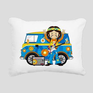 Hippie Boy and Camper Va Rectangular Canvas Pillow