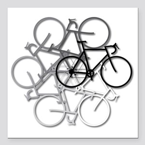 "Bicycle circle Square Car Magnet 3"" x 3"""