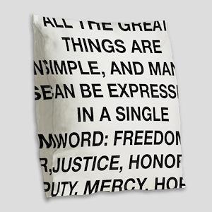 a single word winston churchil Burlap Throw Pillow