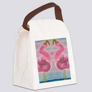 Sassy Flamingos Canvas Lunch Bag