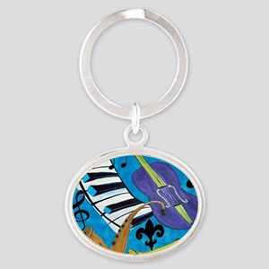 Jazz on Blue Oval Keychain