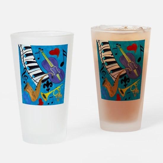Jazz on Blue Drinking Glass