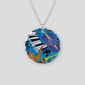 Jazz on Blue Necklace Circle Charm
