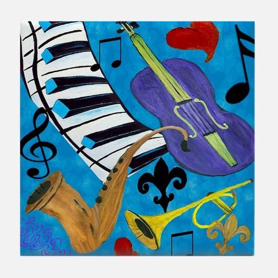 Jazz on Blue Tile Coaster