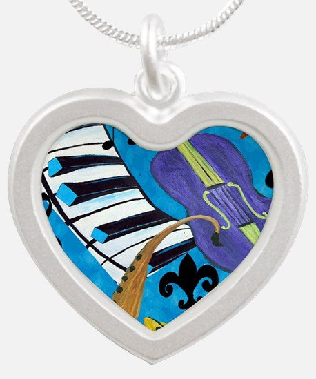 Jazz on Blue Silver Heart Necklace