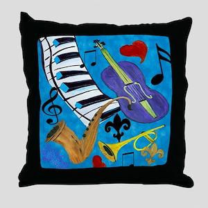 Jazz on Blue Throw Pillow