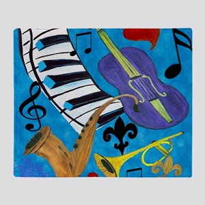 Jazz on Blue Throw Blanket