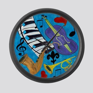 Jazz on Blue Large Wall Clock