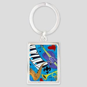 Jazz on Blue Portrait Keychain