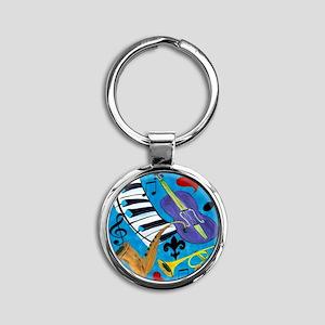 Jazz on Blue Round Keychain