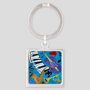 Jazz on Blue Square Keychain