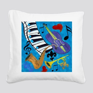 Jazz on Blue Square Canvas Pillow