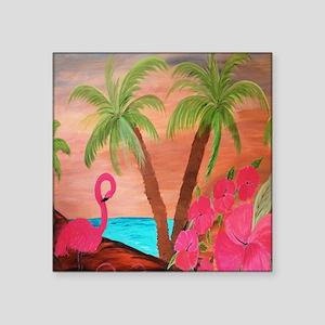 "Flamingo in Paradise Square Sticker 3"" x 3"""