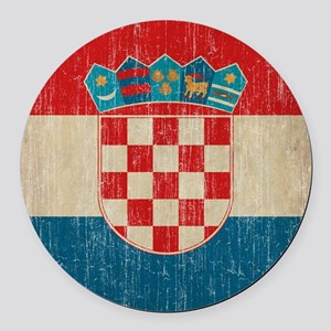 Vintage Croatia Round Car Magnet