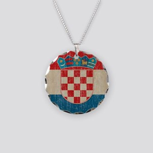 Vintage Croatia Necklace Circle Charm