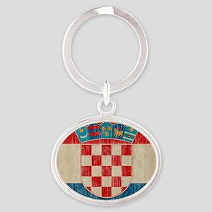 Vintage Croatia Oval Keychain