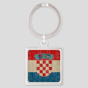 Vintage Croatia Square Keychain
