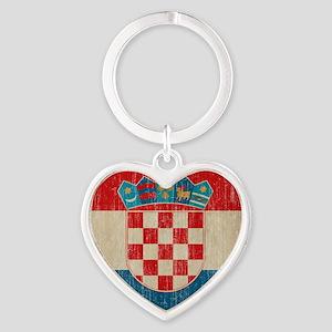 Vintage Croatia Heart Keychain