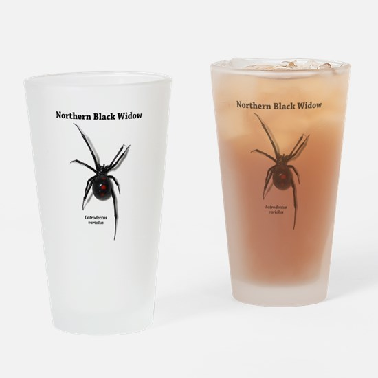 Northern Black Widow with text Drinking Glass