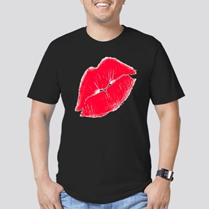 Red Lips Men's Fitted T-Shirt (dark)