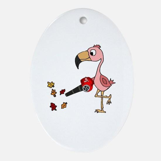Funny Flamingo yard Oval Ornament