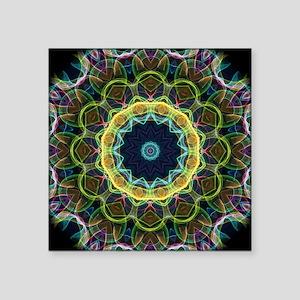 "Kaleidoscope Intricate gree Square Sticker 3"" x 3"""
