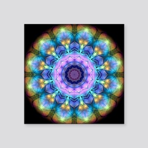 """Lilac Stained Glass kaleido Square Sticker 3"""" x 3"""""""