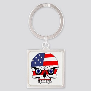 Freedom skull Square Keychain