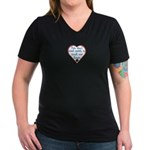 Touch Your Heart v4 Women's V-Neck Dark T-Shirt