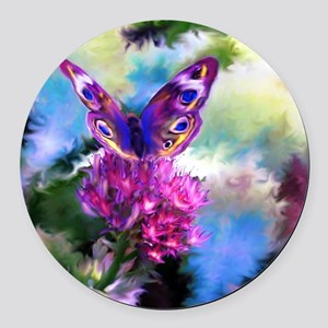 Colorful Abstract Butterfly Round Car Magnet