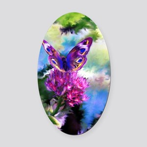 Colorful Abstract Butterfly Oval Car Magnet