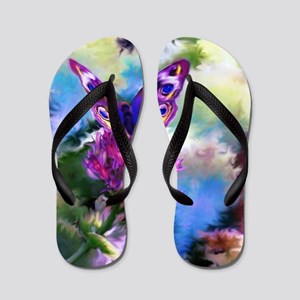 Colorful Abstract Butterfly Flip Flops