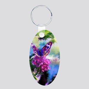 Colorful Abstract Butterfly Aluminum Oval Keychain