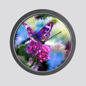 Colorful Abstract Butterfly Wall Clock