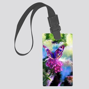 Colorful Abstract Butterfly Large Luggage Tag