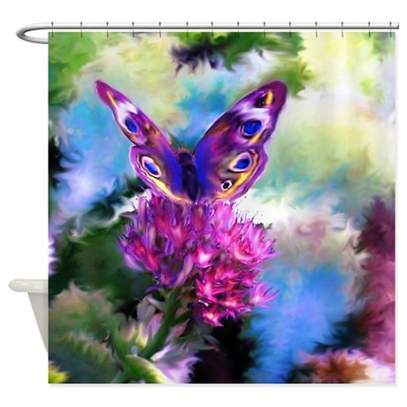 Colorful Abstract Butterfly Shower Curtain