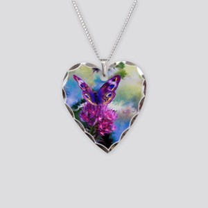 Colorful Abstract Butterfly Necklace Heart Charm