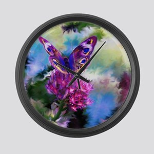 Colorful Abstract Butterfly Large Wall Clock