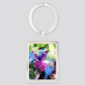 Colorful Abstract Butterfly Portrait Keychain