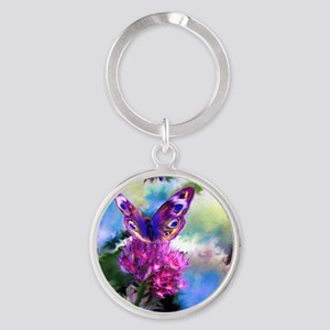 Colorful Abstract Butterfly Round Keychain