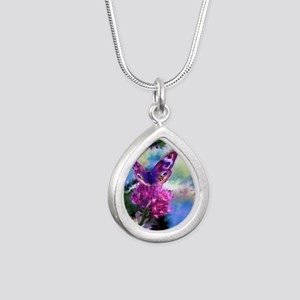 Colorful Abstract Butter Silver Teardrop Necklace