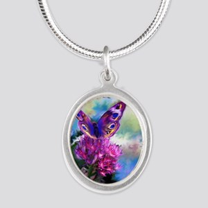 Colorful Abstract Butterfly Silver Oval Necklace
